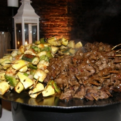 Grilled Beef on a Stick and Vegetable Kabob