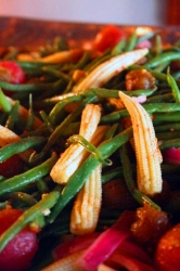 Haricot Verts with Baby Corn & Red Peppers